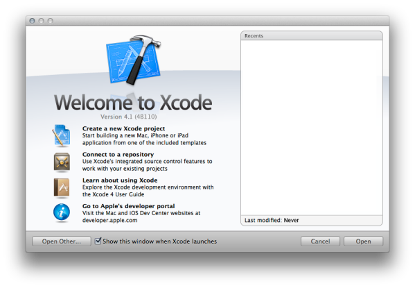 Xcode 4 Welcome Window