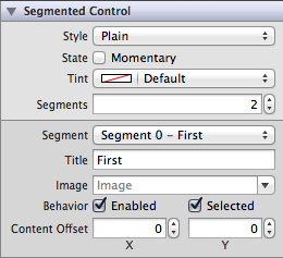 Segmented Control Settings