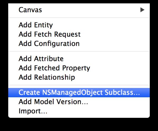 Create NSManagedObject Subclass
